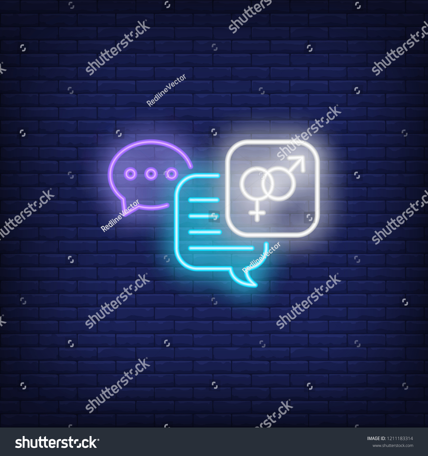 Luminous signboard with erotic chat. Night bright advertisement. Vector  illustration