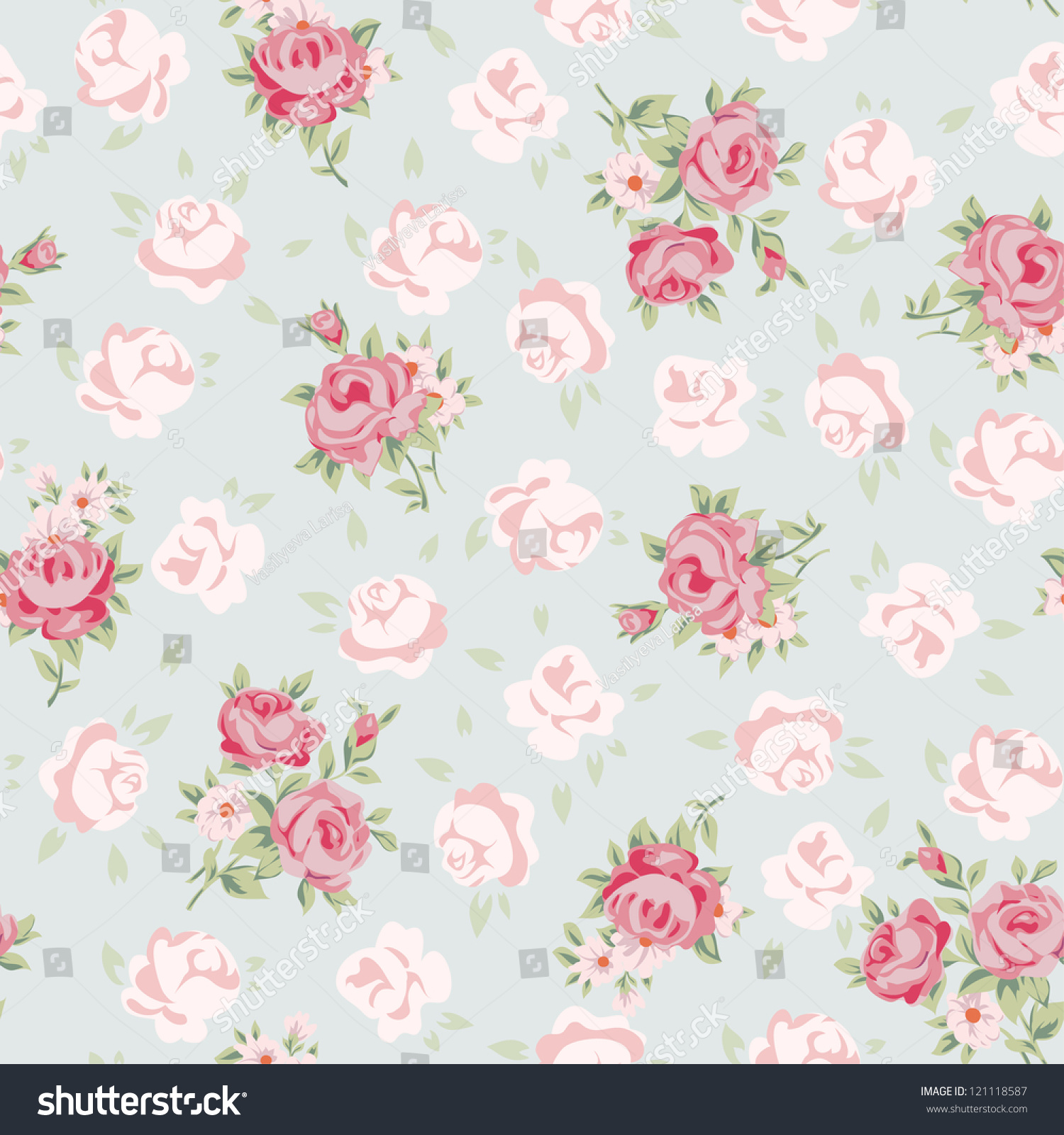 floral seamless vintage pattern shabby chic stock vector 121118587