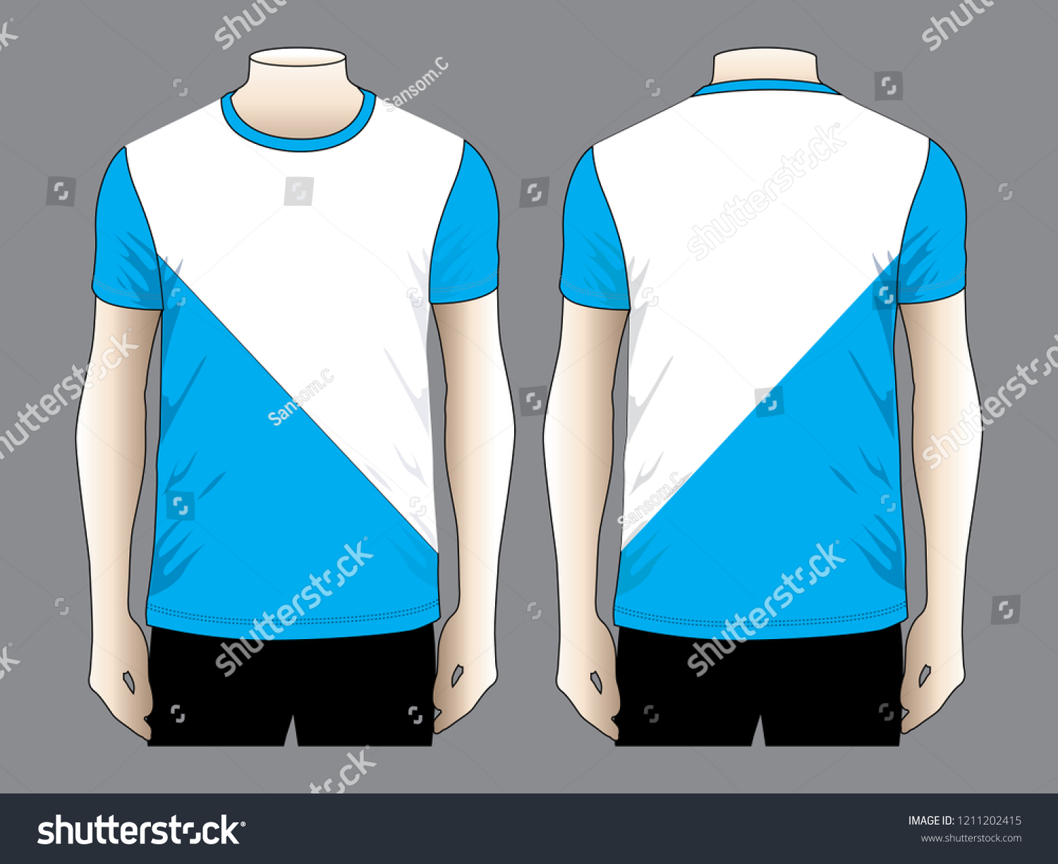 T Shirt Design Vector Blue White Two Stock Vector Royalty Free