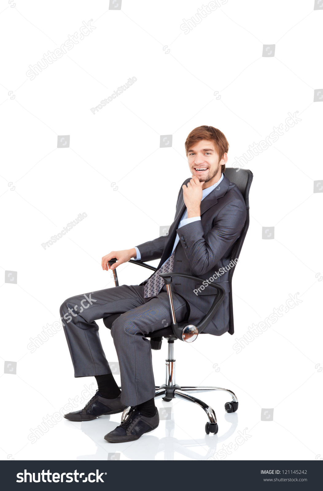 Technology Management Image: Businessman Happy Smile Sitting Chair Business Stock Photo