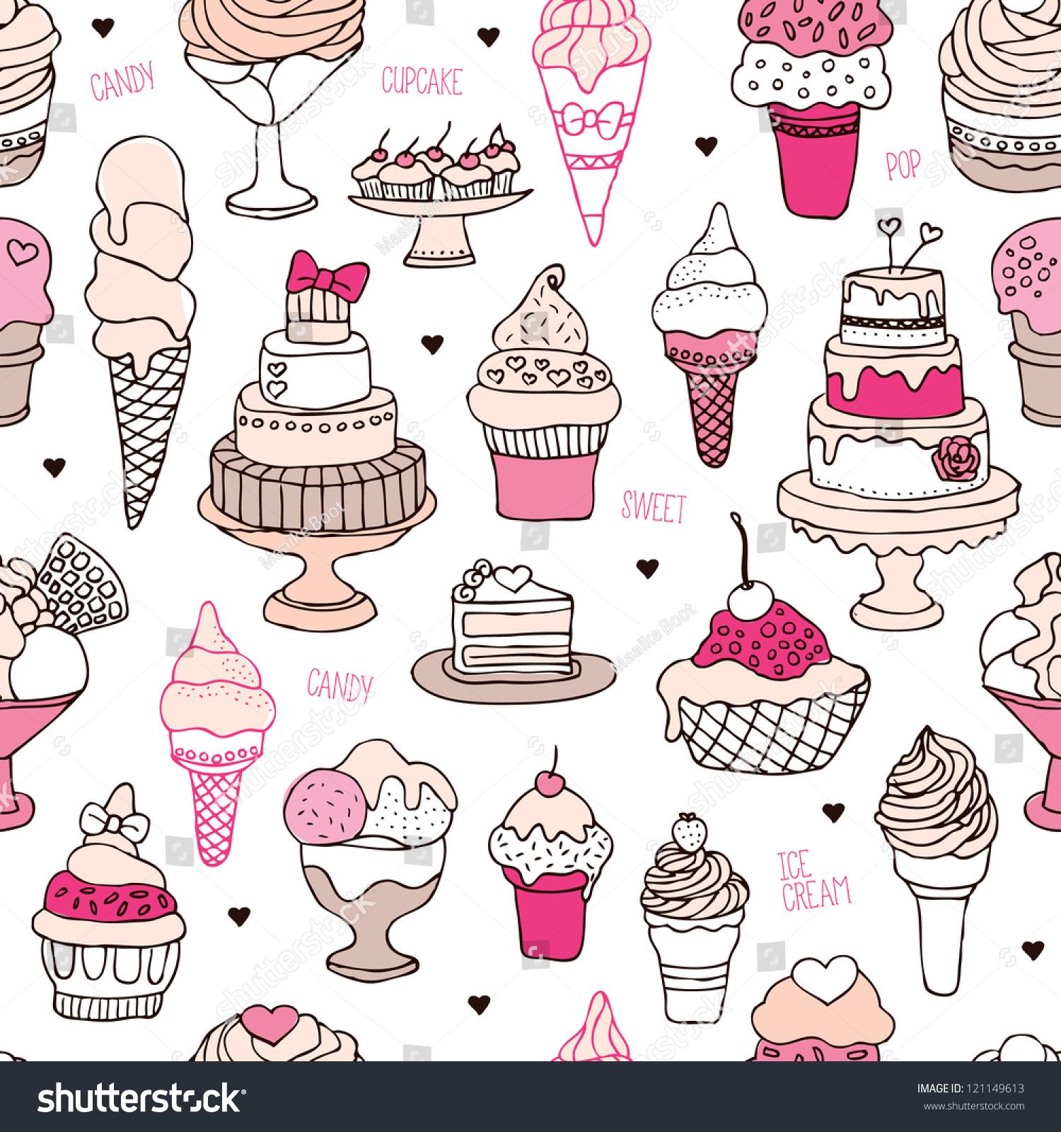 Seamless Ice Cream Background: Seamless Ice Cream Candy Cake Background ���วกเตอร์สต็อก