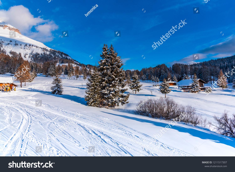 snow traces on ski resort stock photo (edit now) 1211517307