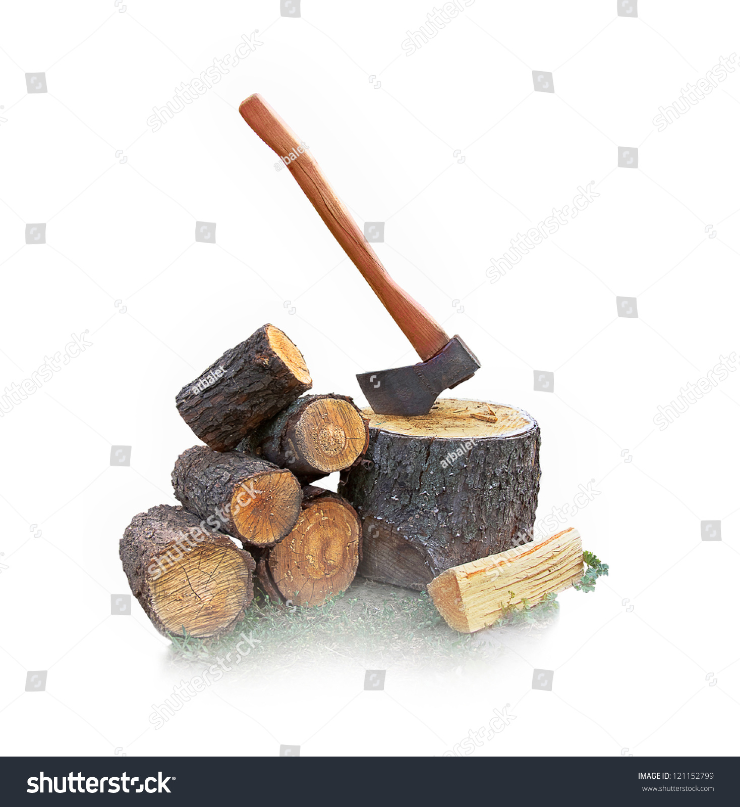 Stump with an ax and firewood on the white stock photo
