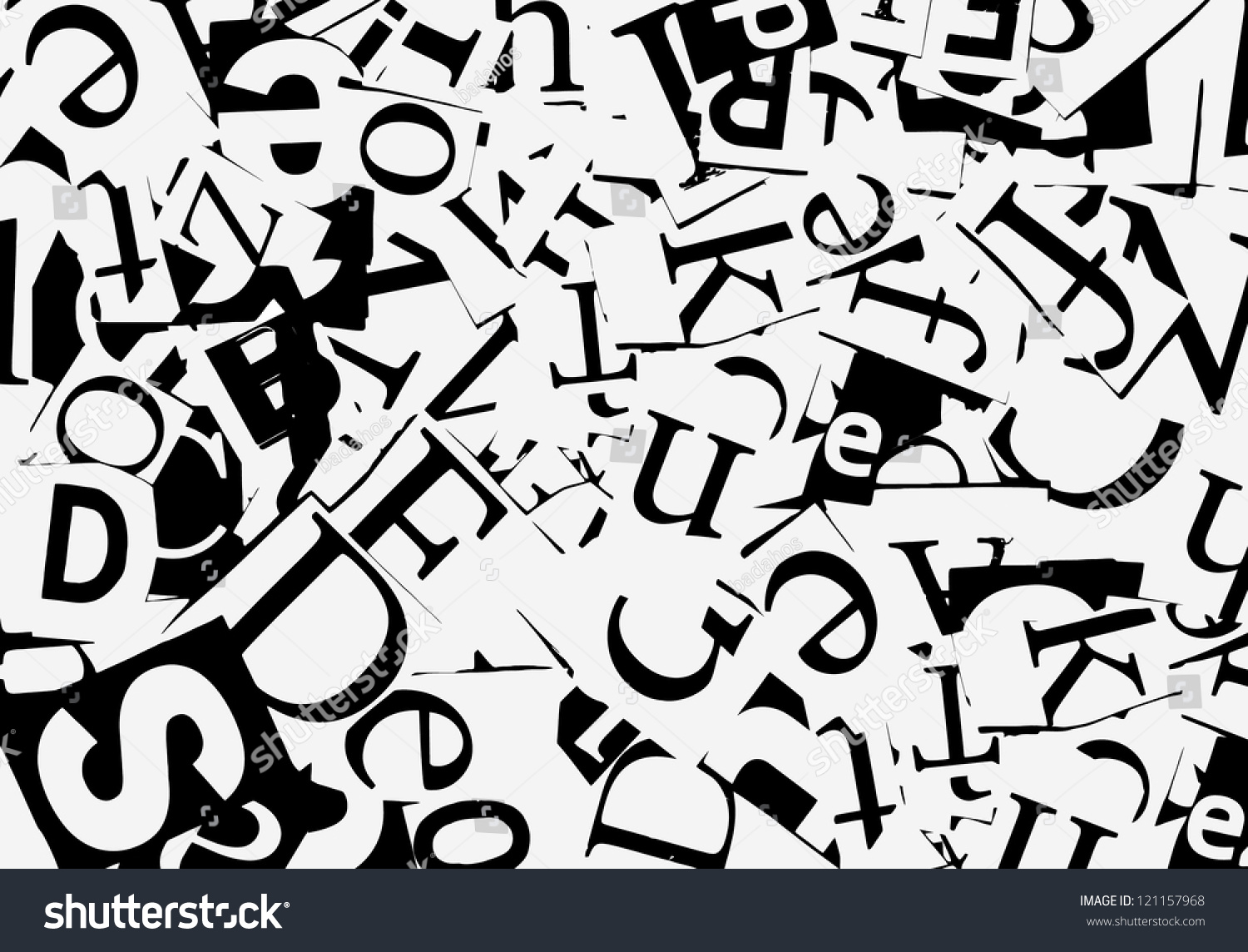 Letters Cut From Newspaper, Background Stock Vector