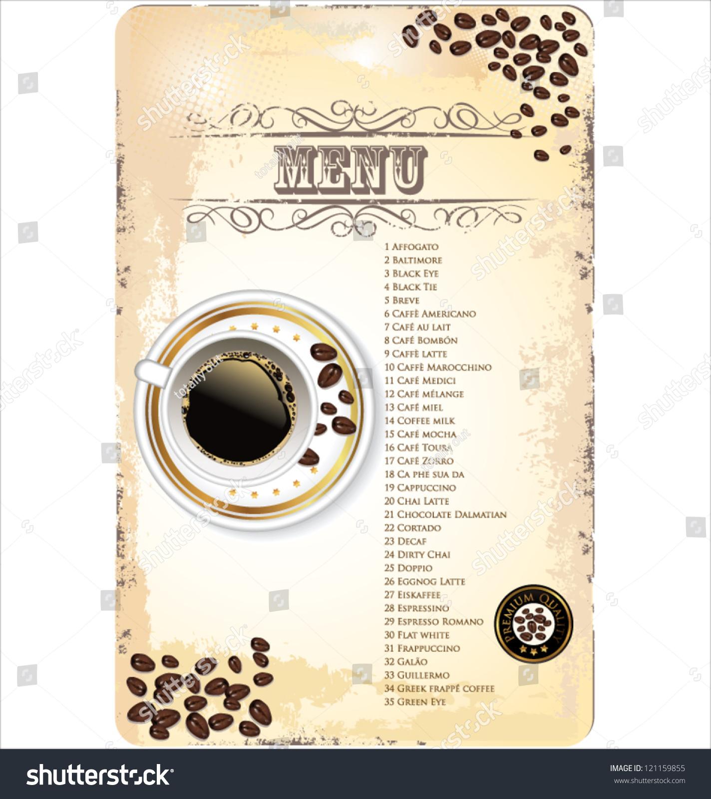 Coffee Shop Menu Template Vector 121159855 Shutterstock – Cafe Menu Template