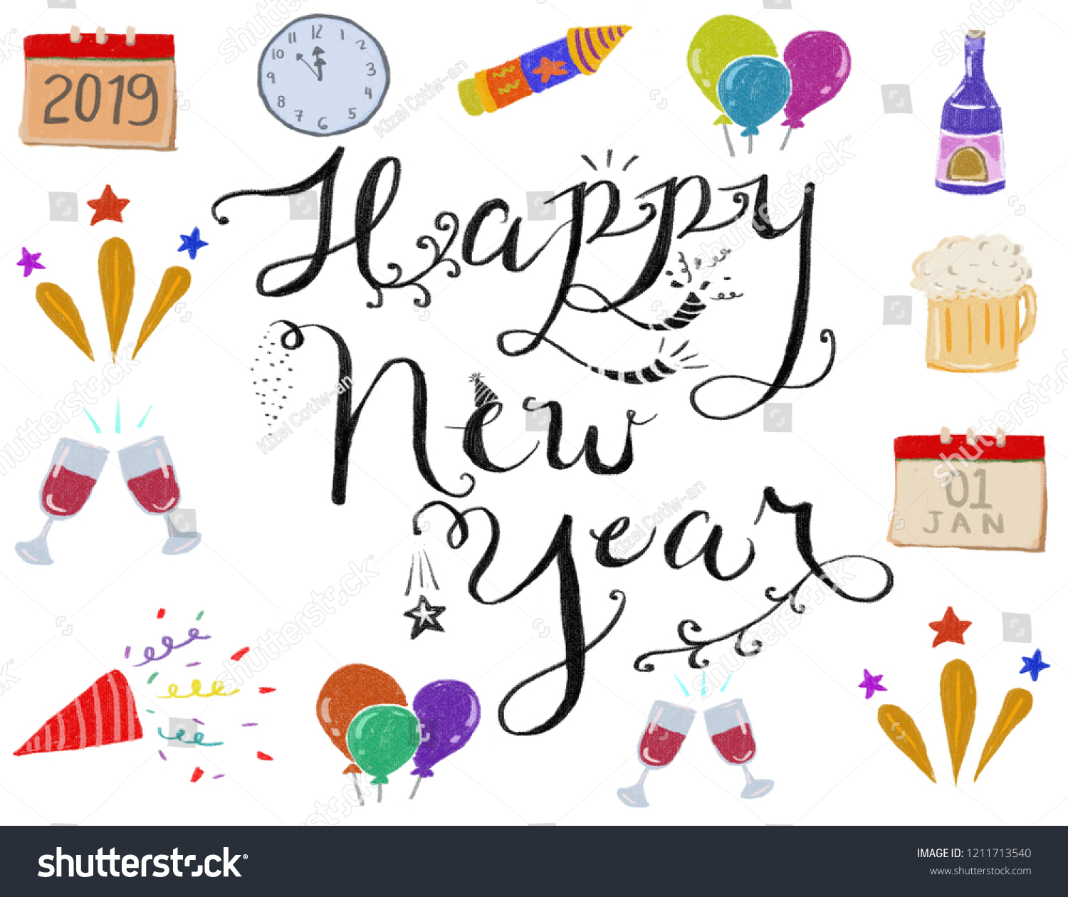 hand drawn new year icons border with happy new year in white background