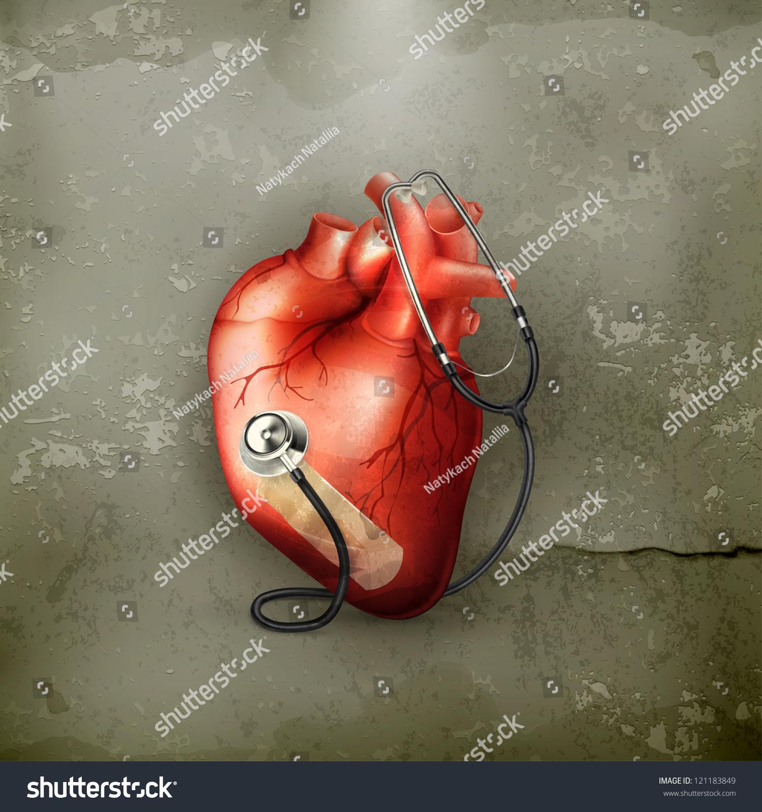 Heart Stethoscope Oldstyle Vector Stock Vector 121183849 Shutterstock