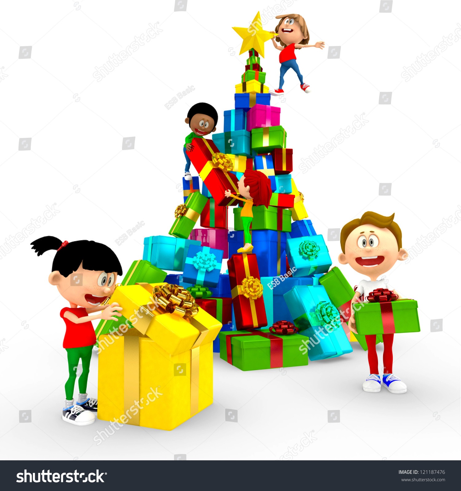 3 D Happy Kids Opening Christmas Presents Stock Illustration ...