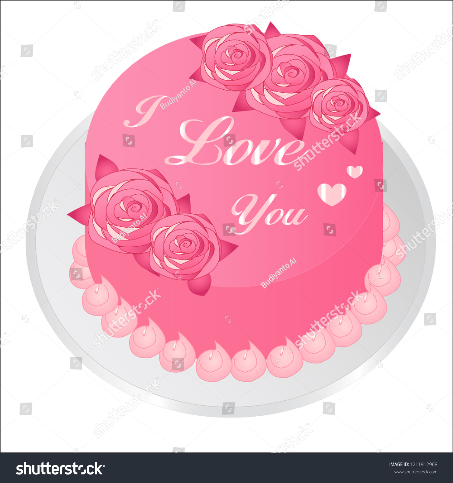 Icon Birthday Cake With Heart Shape For Background Design Banner And Various Other