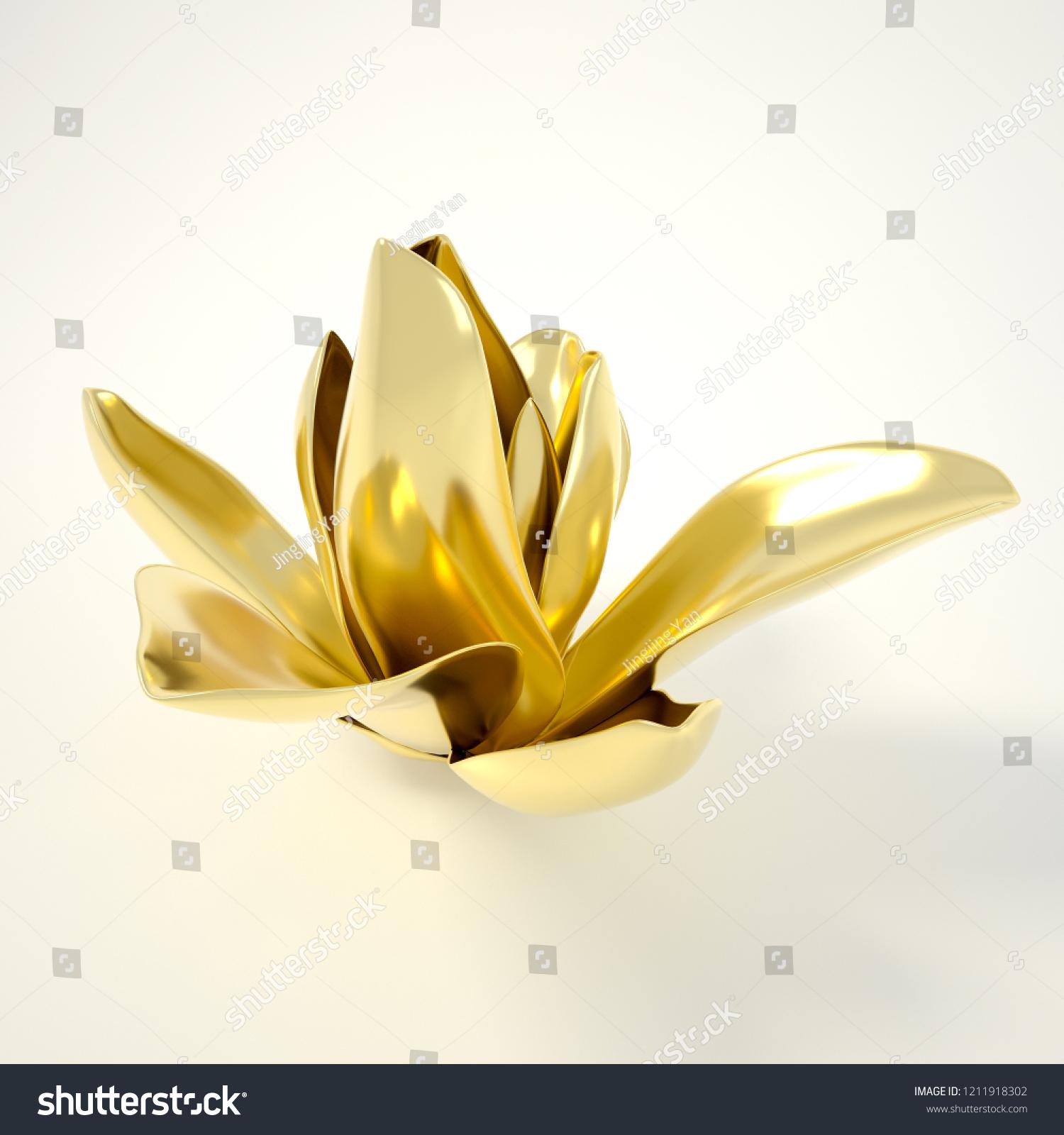 Royalty Free Stock Illustration Of 3 D Rendering Golden Flowers Gold