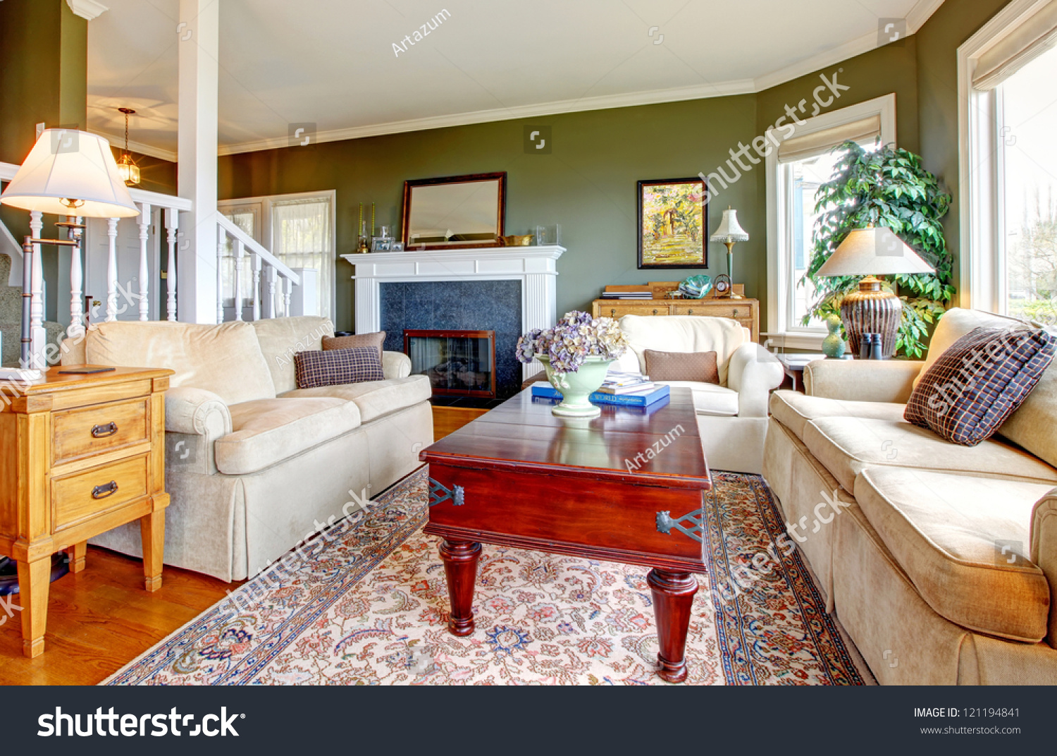 Nice Chairs For Living Room: Classic Green Living Room With Nice Furniture, Fireplace