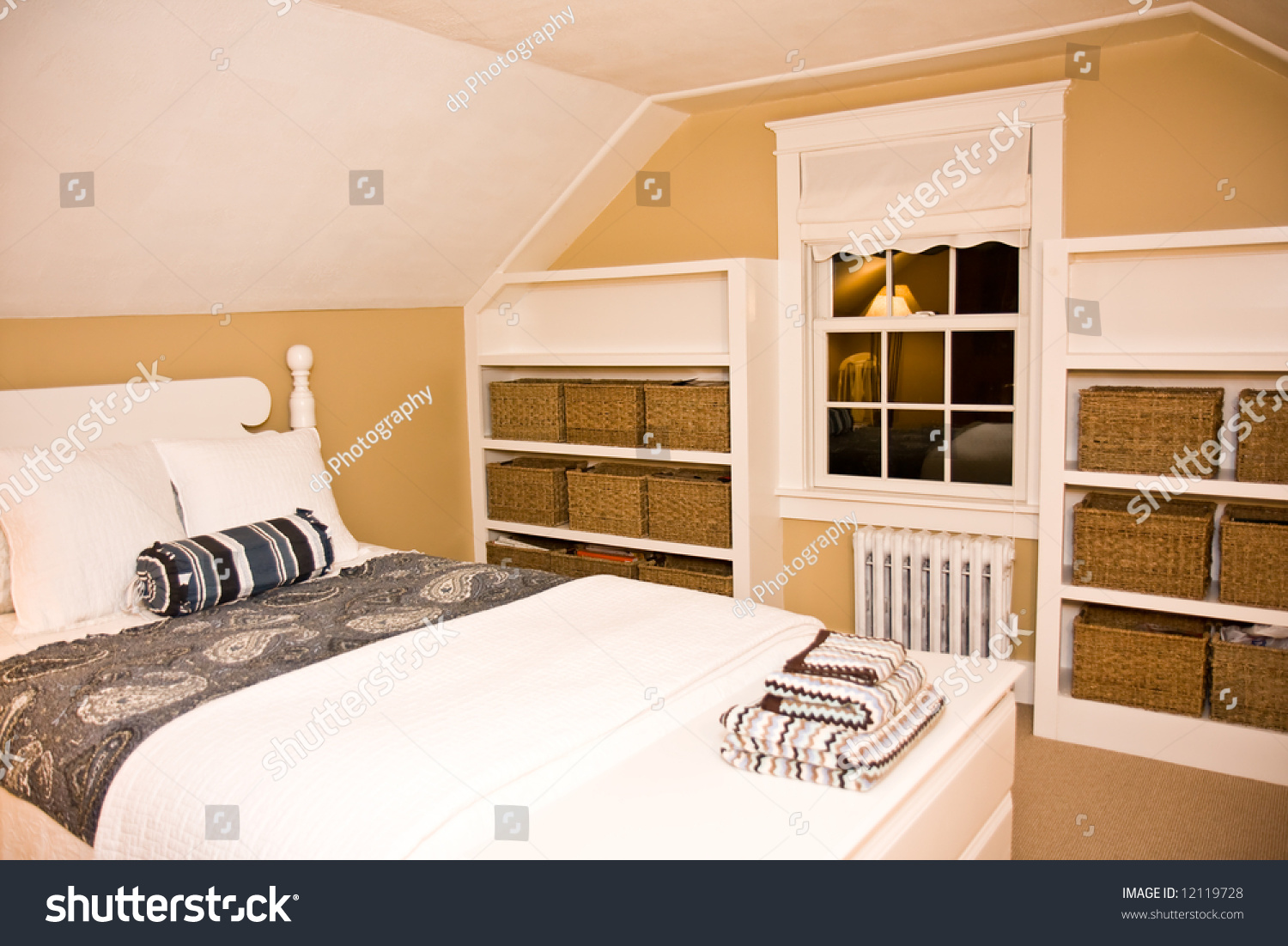 Cozy new england style bedroom stock photo 12119728 for New england style bedroom