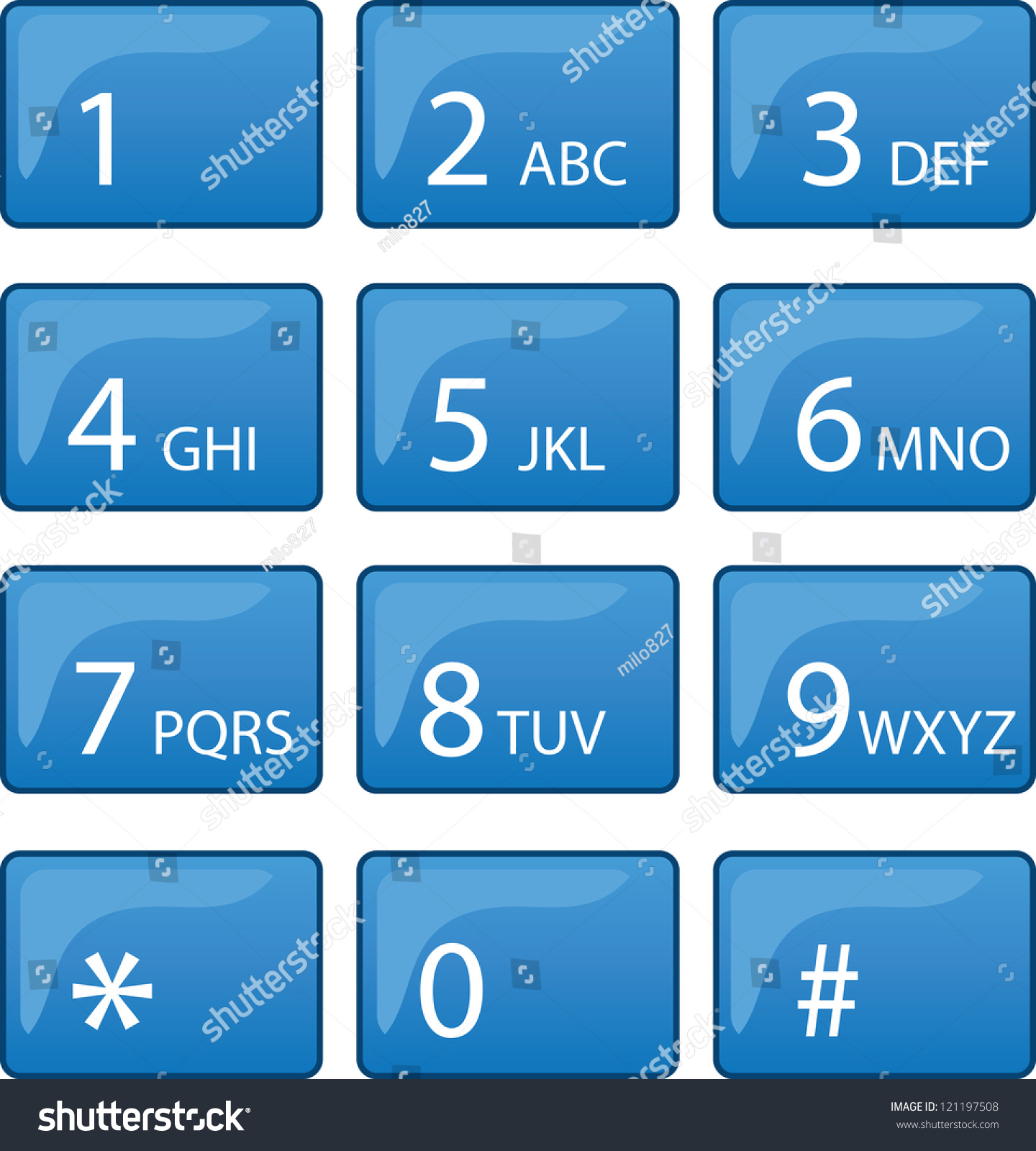 Isolated Phone Dial Pad Blue Buttons Stock Vector 121197508 ...
