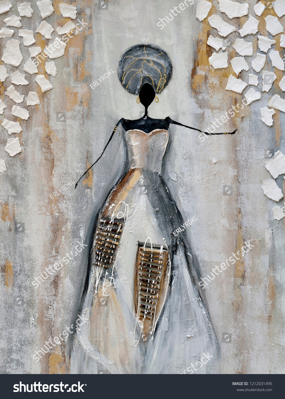 Acrylic African Lady Painting Stock Photo Edit Now 1212031495