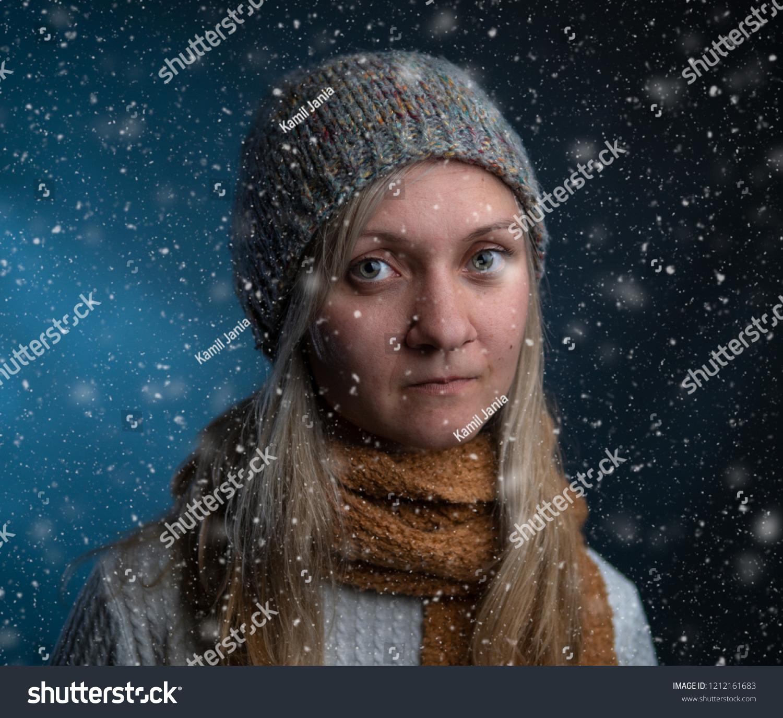 Naturally Beautiful Millennial Woman Winter Clothes Stock