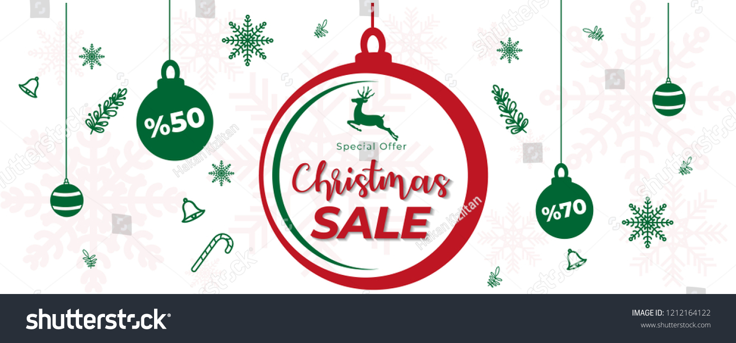 merry christmas and happy new year banner with christmas decoration green ornaments snowflakes on