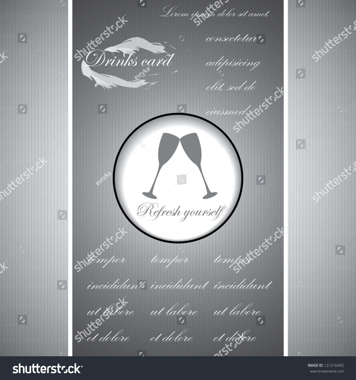 drinks business cards restaurant silver background stock vector