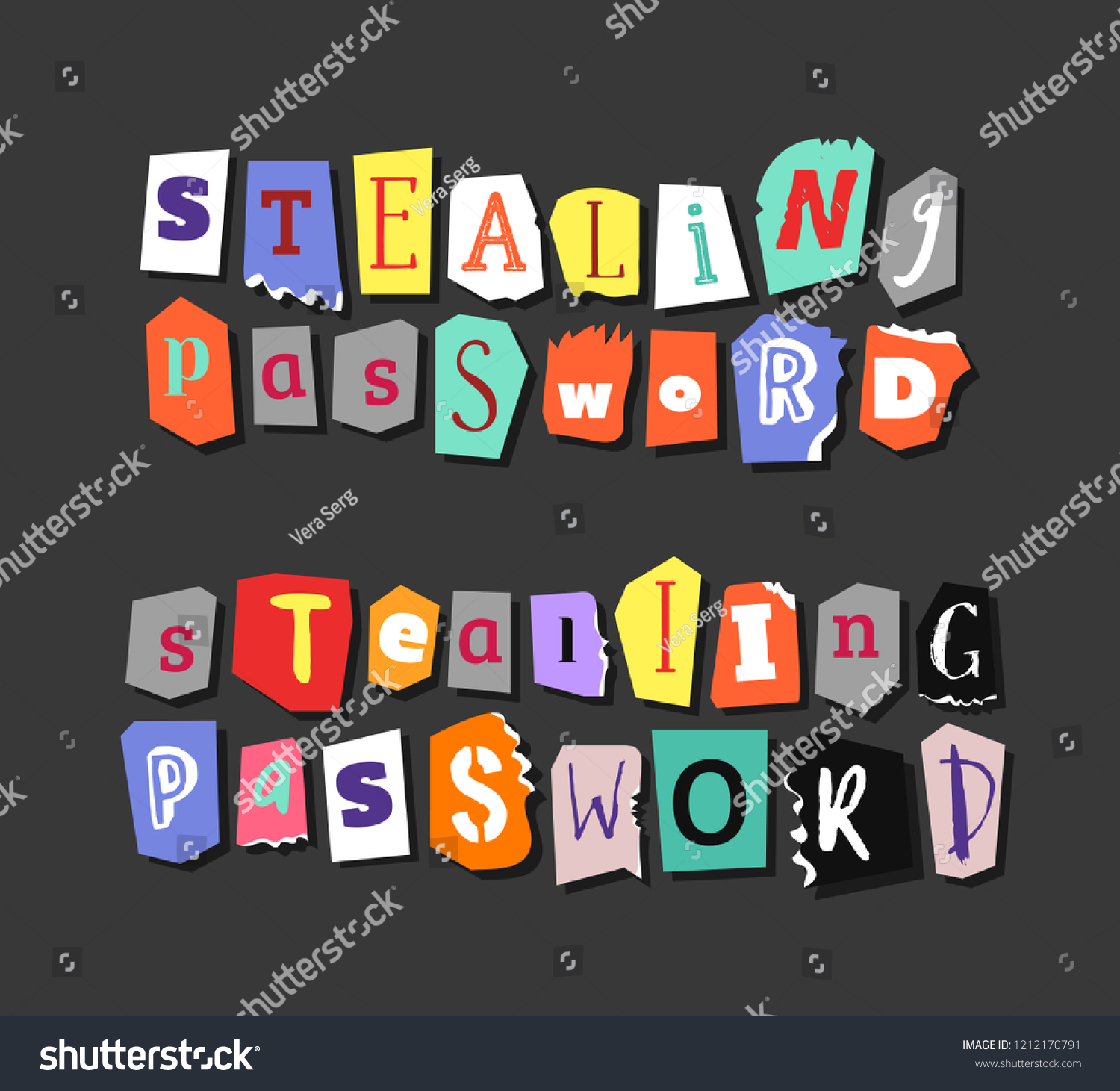 Colorful Newspaper Word Stealing Password Hand Stock Vector