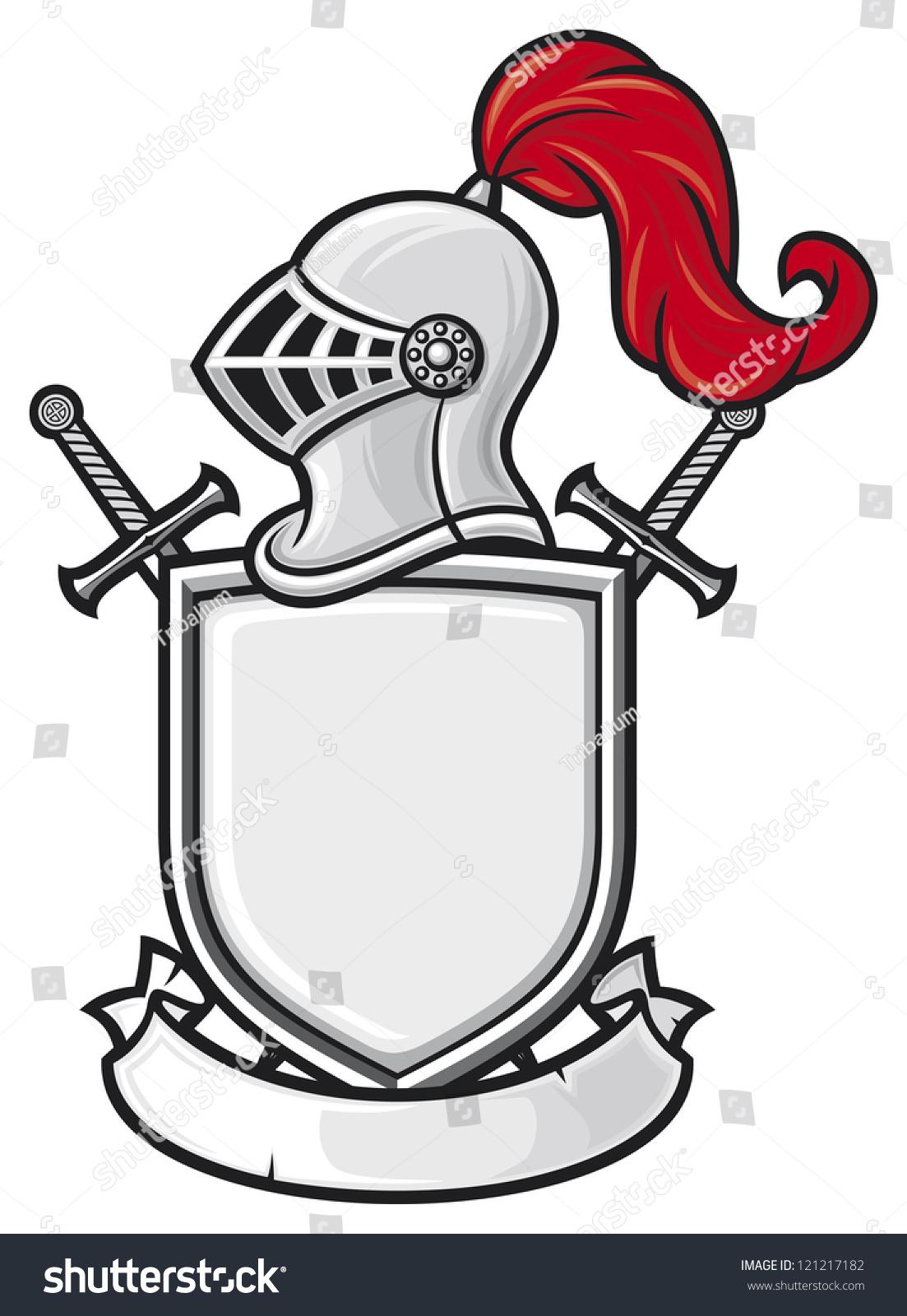 medieval knight helmet shield crossed swords stock