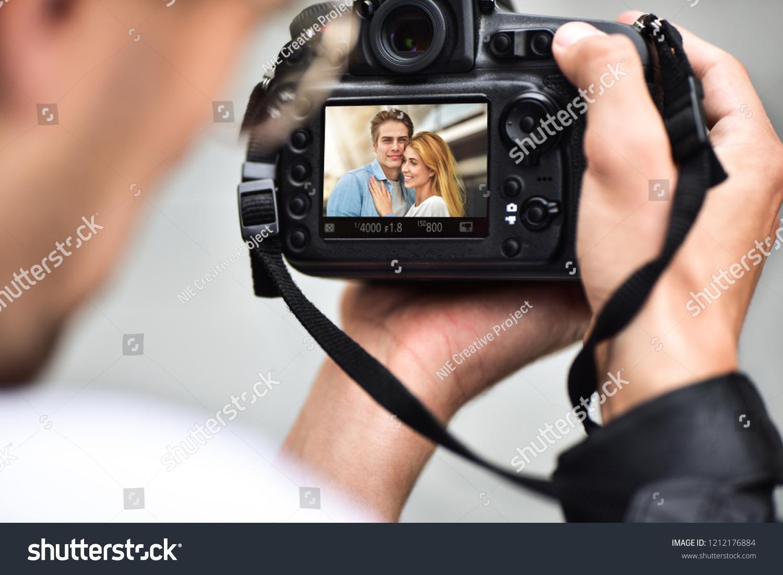 Shooting Digital Photographs Through >> Digital Singlelens Reflex Camera Hands Photographer Stock Photo