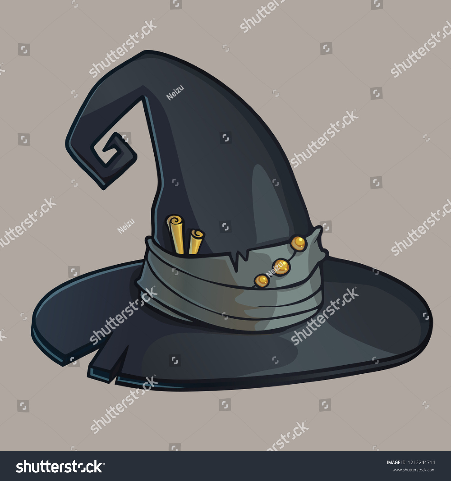 Black witch hat. Vector color illustration of old magical wide-brimmed hat ad614c587c9