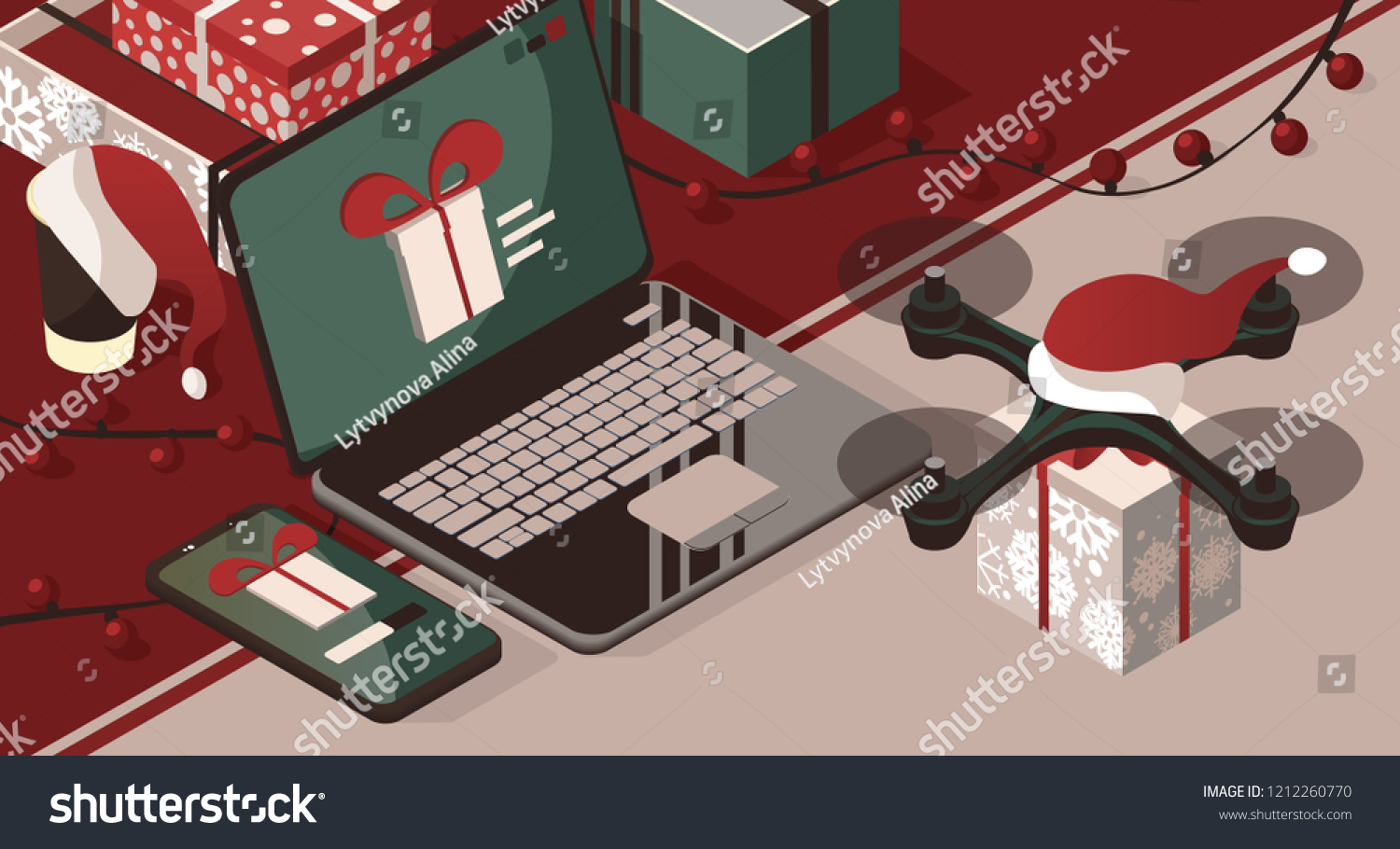 Purchase Send Christmas Gift Through App Stock Vector (Royalty Free ...