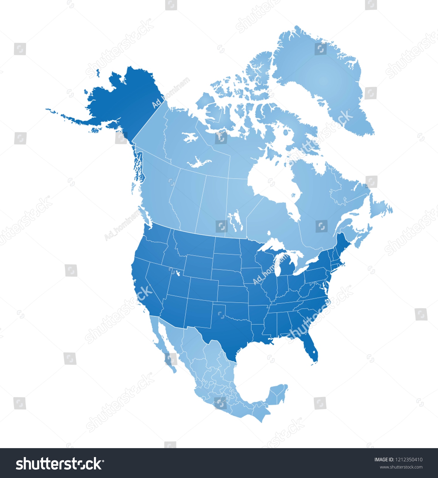 Map North America USA Canada Mexico Stock Vector (Royalty Free ...