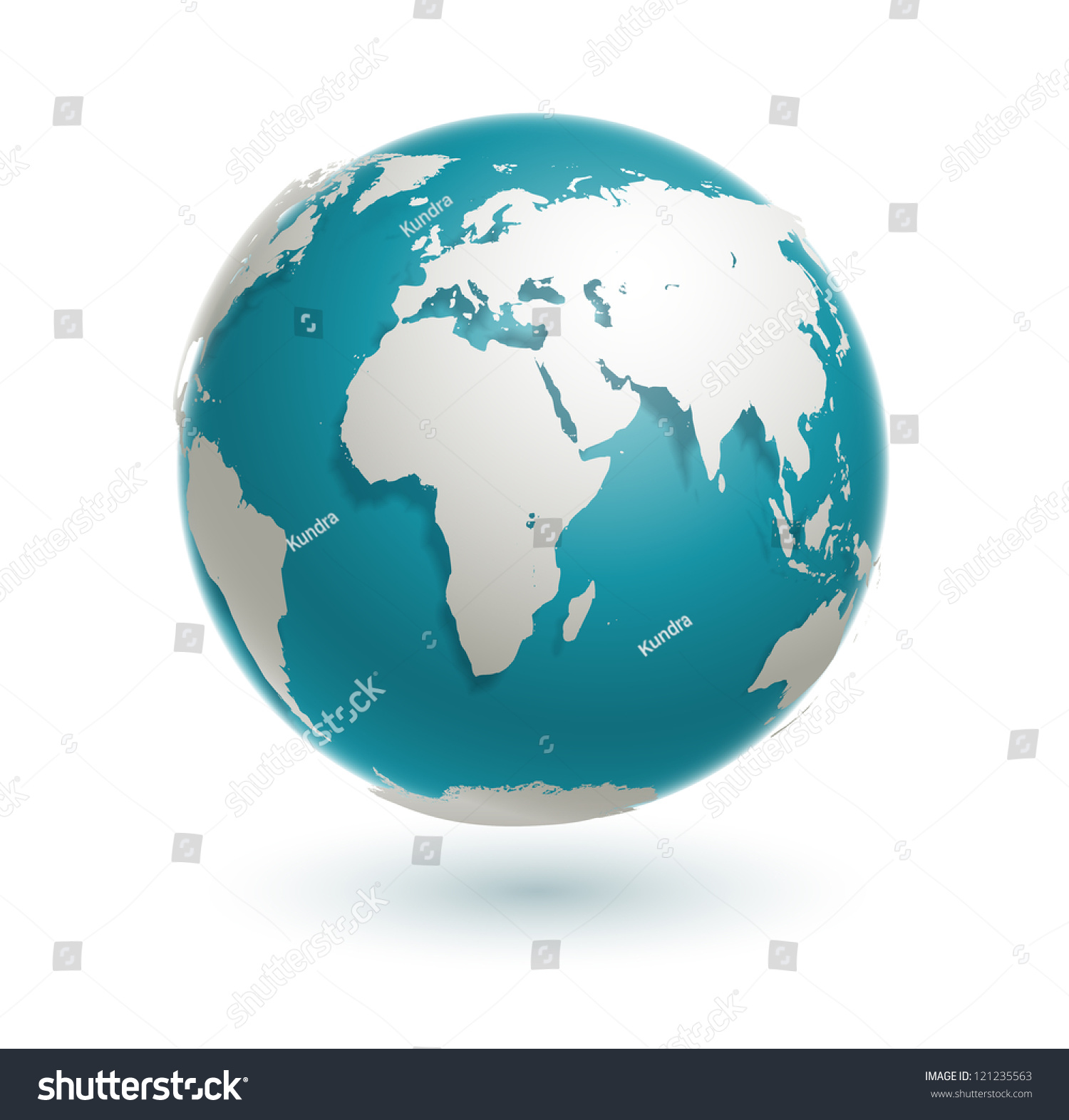 3d World Globe Icon With White Map Of The Continents Of