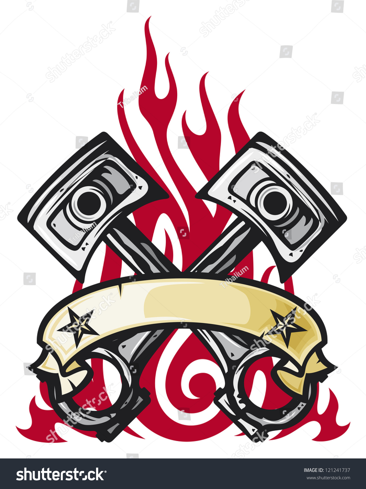 crossed engine pistons banner flame tattoo stock illustration 121241737 shutterstock. Black Bedroom Furniture Sets. Home Design Ideas