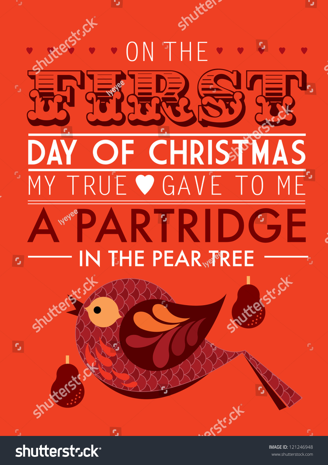 1st Day Of Christmas Song >> First Day Twelve Days Christmas Template Stock Vector 121246948 - Shutterstock
