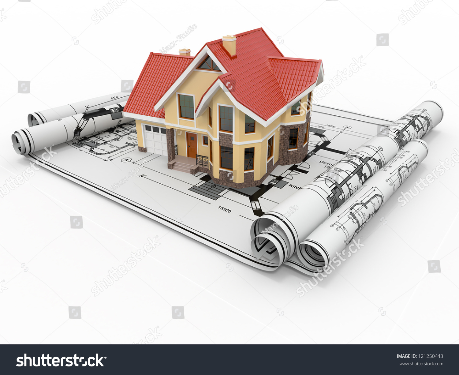 Architecture Blueprints 3d residential house on architect blueprints housing stock