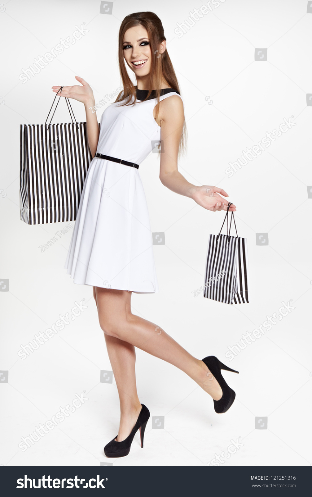 Wonderful Young Woman Holding A Grocery Bag Stock Image - Image Of Nutrition Healthy 14052823