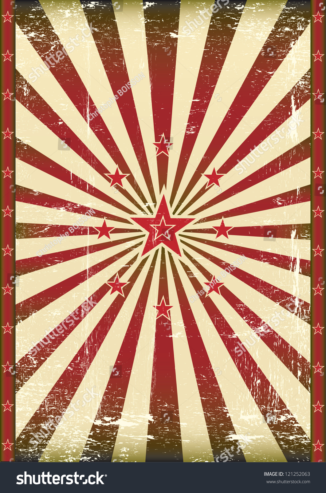 Vintage Red Star Background. A Poster With Red Sunbeams ...