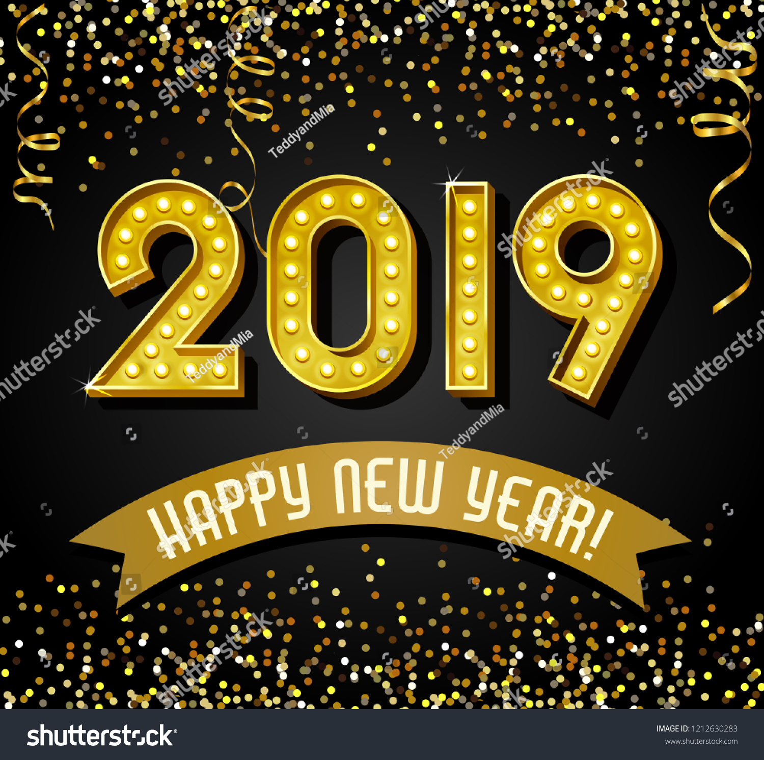 2019 happy new year design with vintage gold light bulb letters glitter confetti and