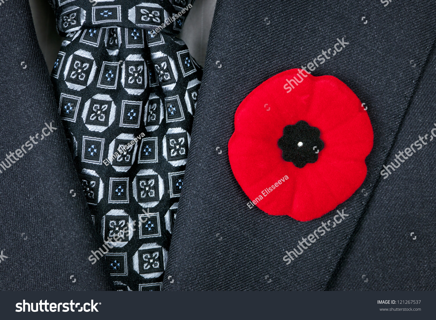 Red Poppy Lapel Pin On Suit Stock Photo Edit Now 121267537