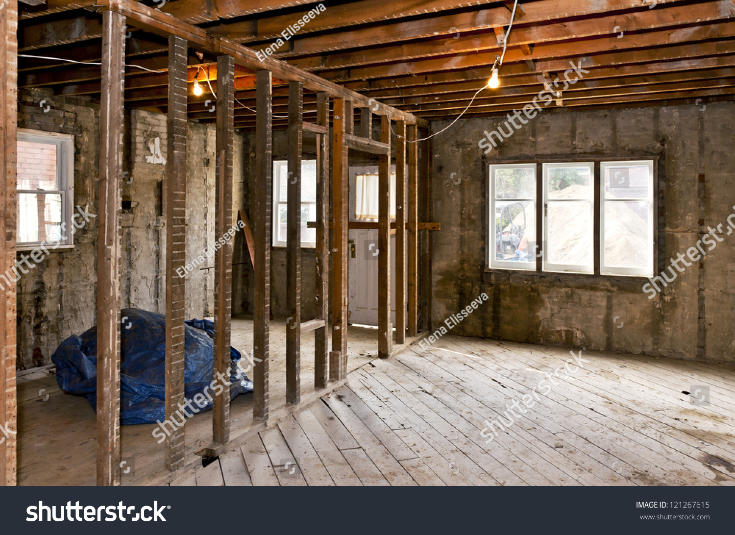 Interior house under gut renovation construction stock for Interior site