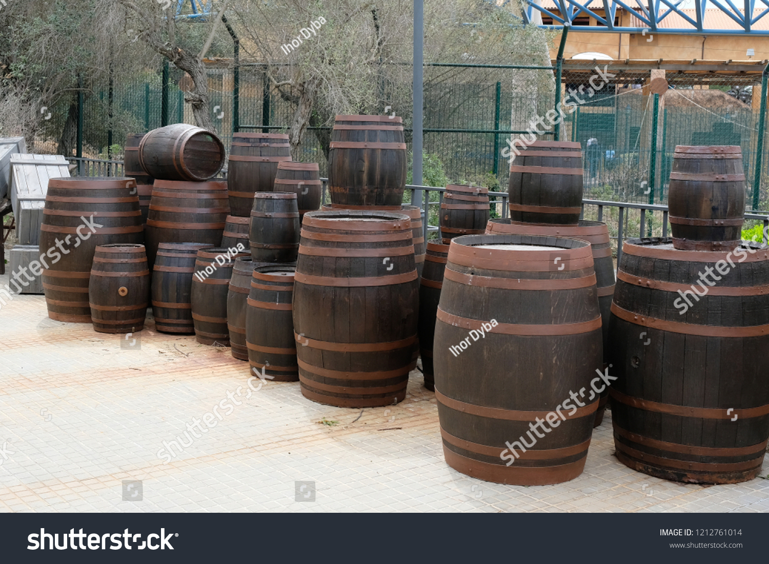 Many Large Small Wooden Barrels Wine Stock Photo Edit Now