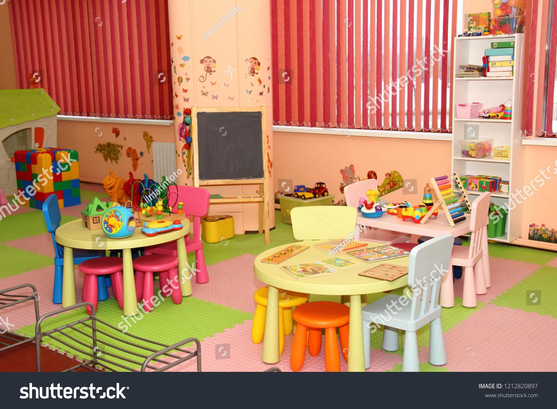 Interior modern kids playing room kindergarten stock photo edit now