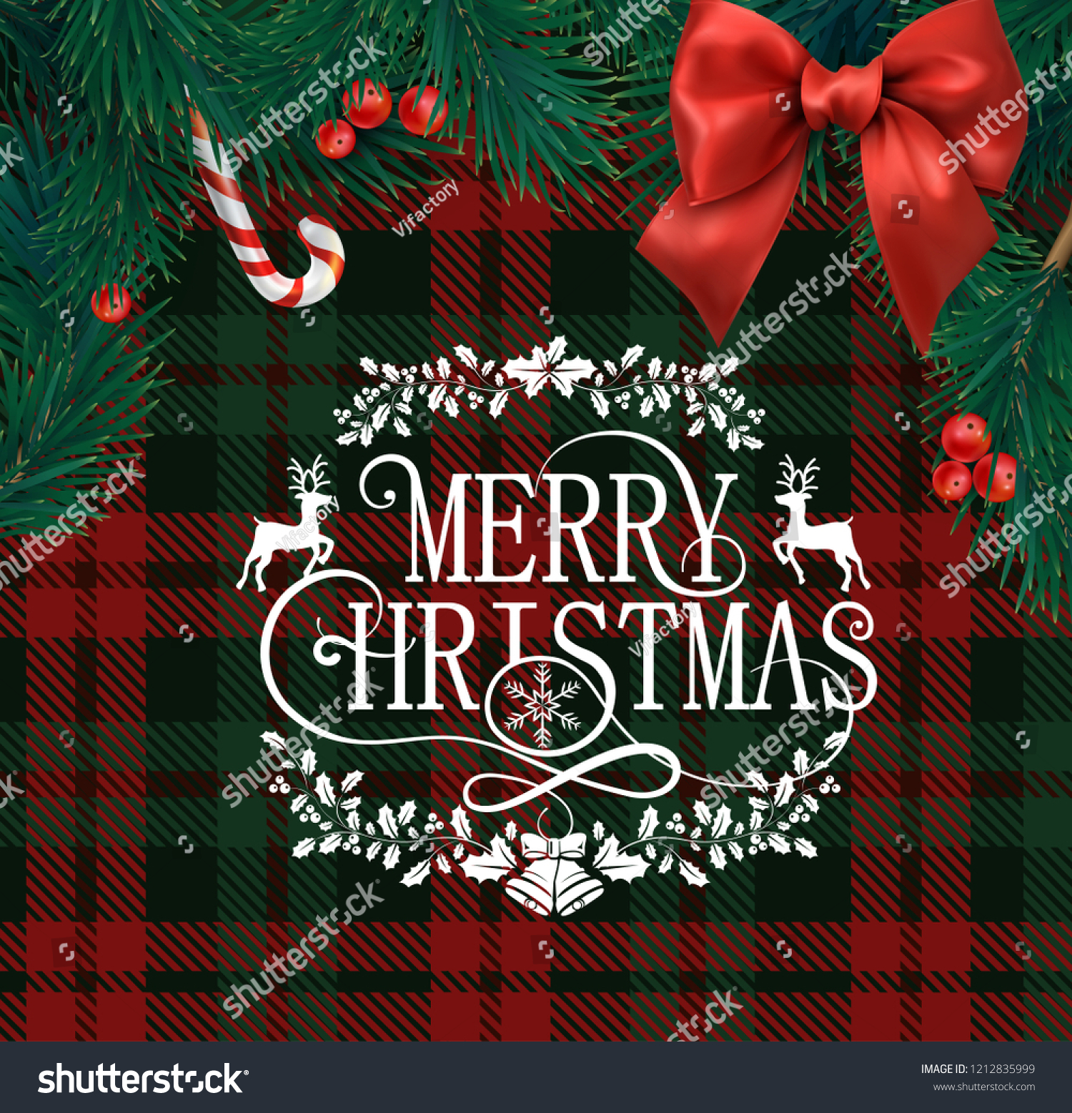 merry christmas greeting card with scottish red and green checkered pattern fir branches holly