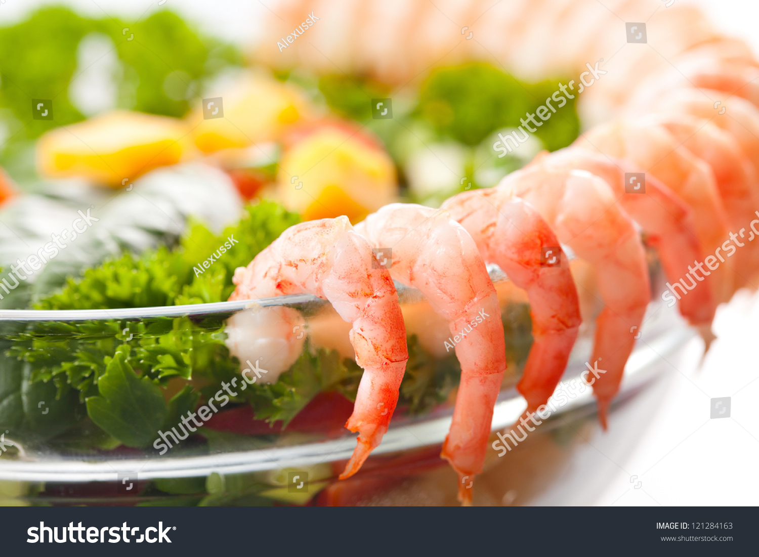 Boiled shrimp salad with cheese and vegetables