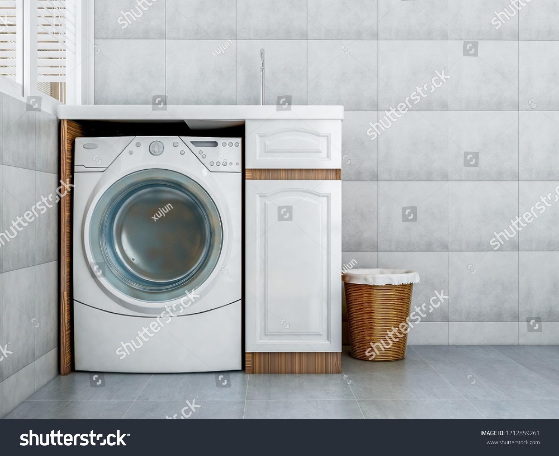 Lave Linge Dans Salle De Bain illustration de stock de rendu 3d, lave-linge et armoire en