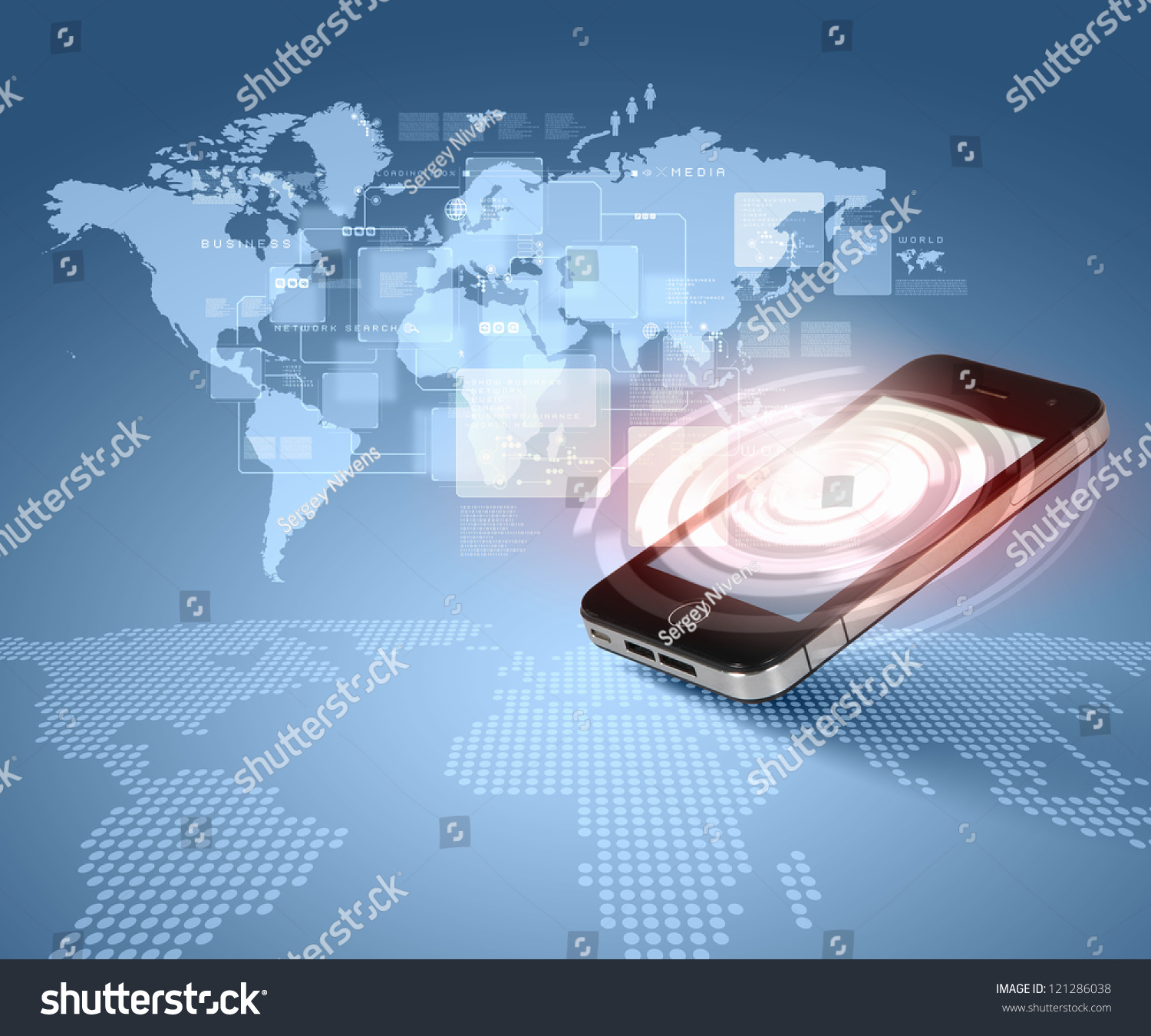 Modern Communication Technology Illustration Mobile Phone ...