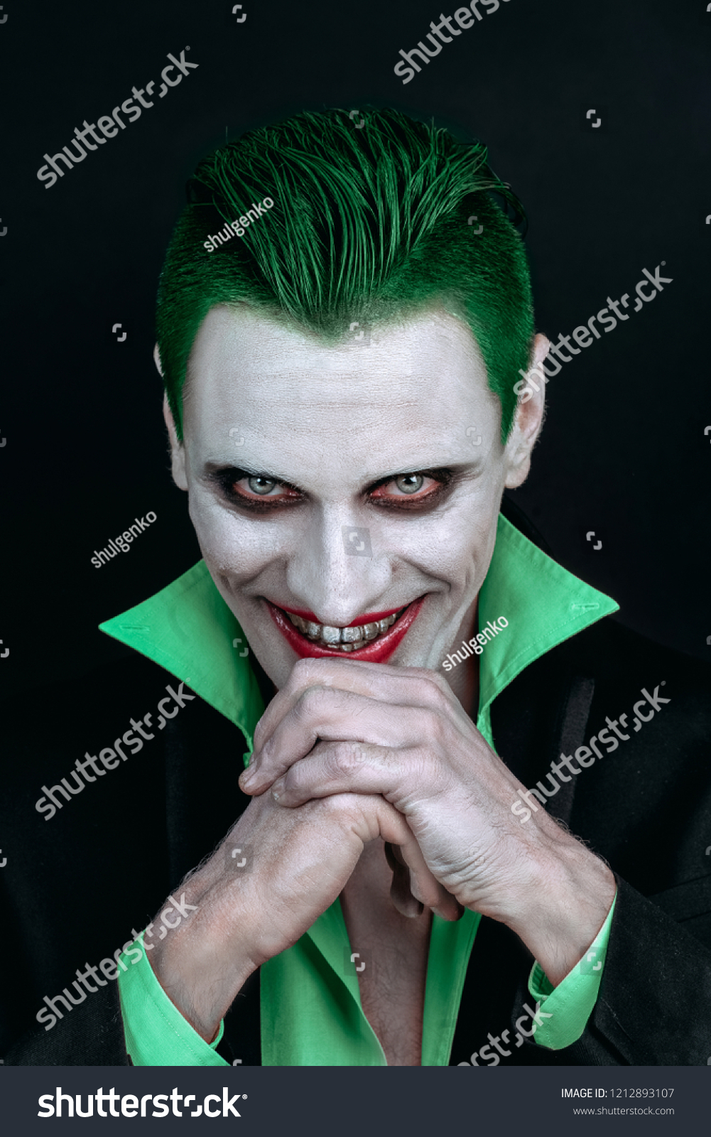 portrait joker makeup halloween crazy image stock photo (edit now