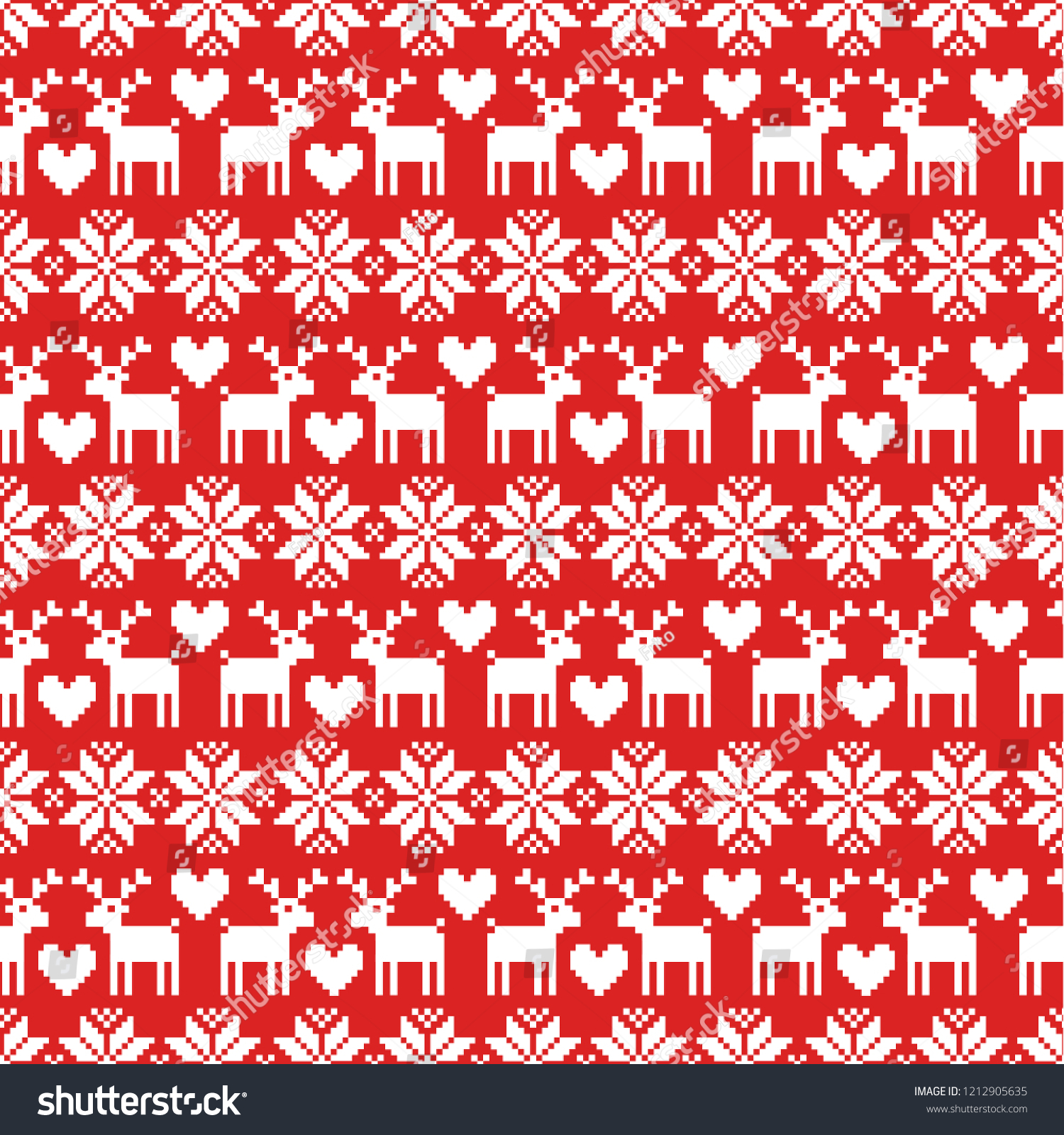 bcd414210a200 Vector seamless Christmas sweater pattern with deers on red background.  Pefrect for wrapping paper or