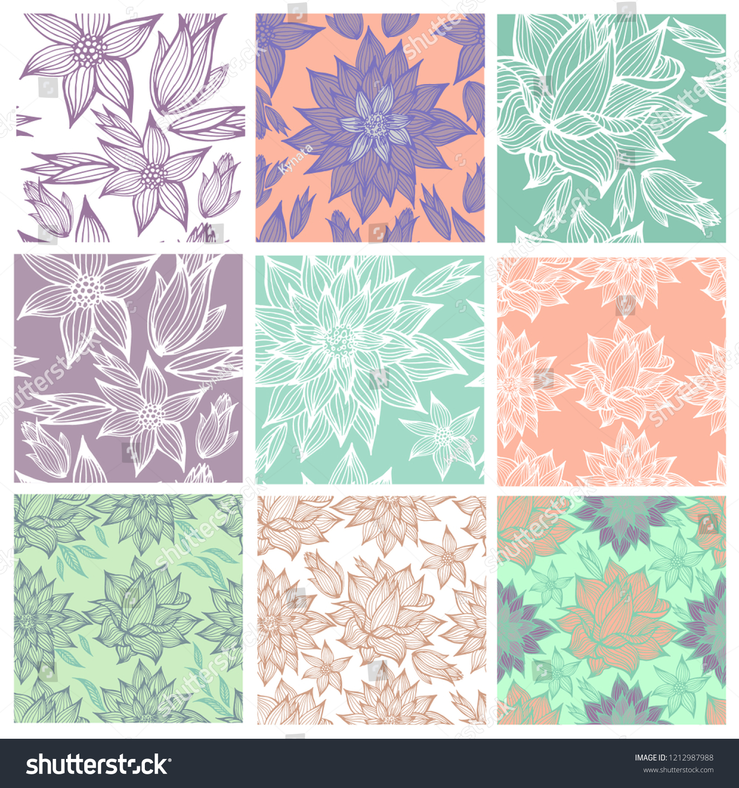 Vector Set Seamless Floral Patterns Leafs Stock Vector Royalty