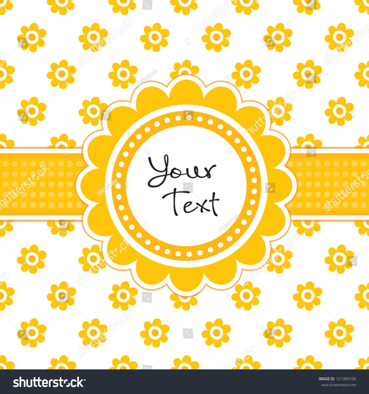 Vector Greeting Card Template With Cute Daisy Shaped Text Frame And Vintage Floral Print Great