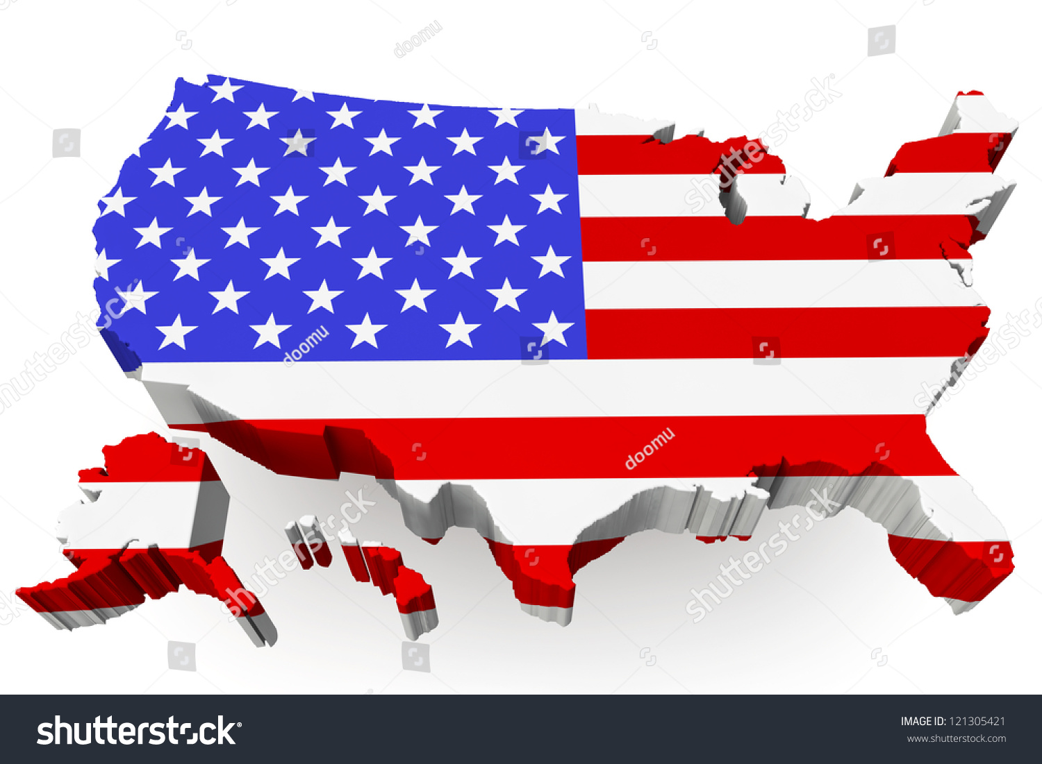 Usa Map Usa Flag On White Stock Illustration Shutterstock - Us flag map