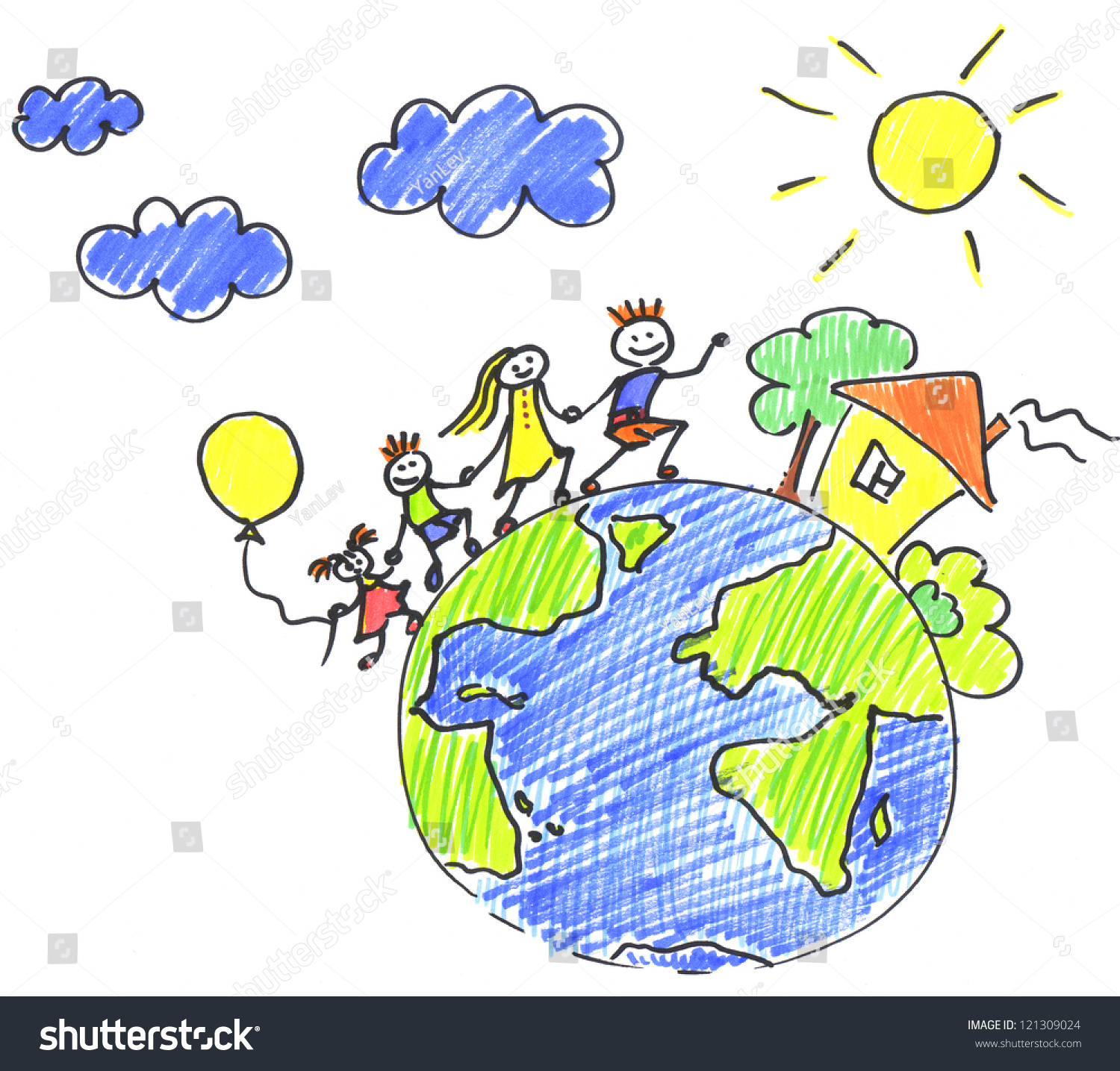 Childs Drawing Happy Family On Planet Stock Illustration ...