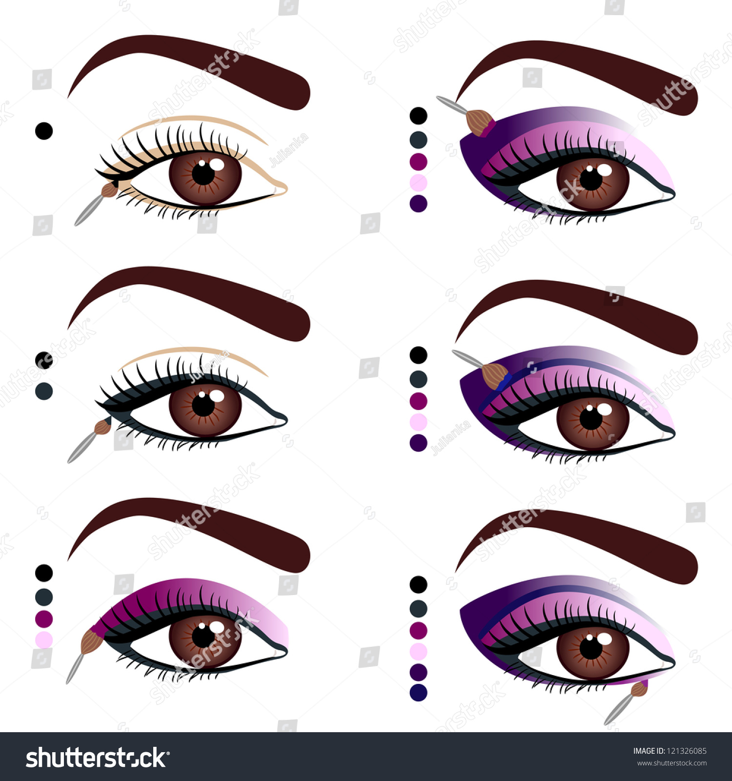 Illustration Stages Applying Makeup On Eyes Stock Vector Royalty