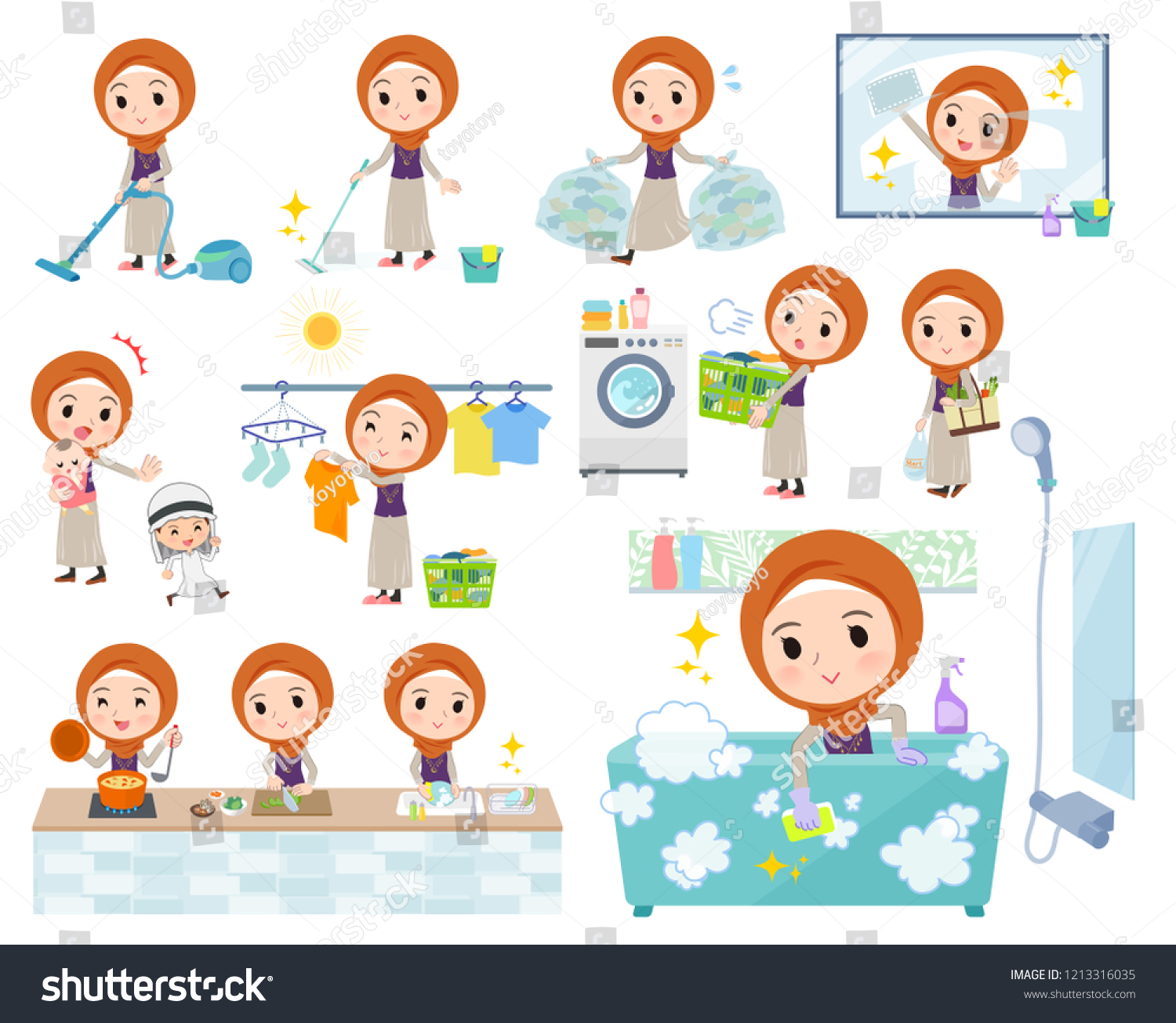 Set Women Wearing Hijab Related Housekeeping Stock Vector